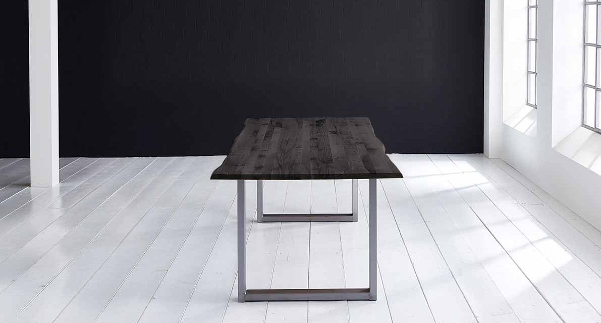 Concept 4 You Plankebord – Barkkant Eg med Manhattan ben, m. udtræk 3 cm 240 x 100 cm 07 = mocca black