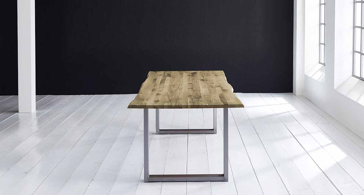 Concept 4 You Plankebord – Barkkant Eg med Manhattan ben, m. udtræk 3 cm 180 x 100 cm 04 = desert