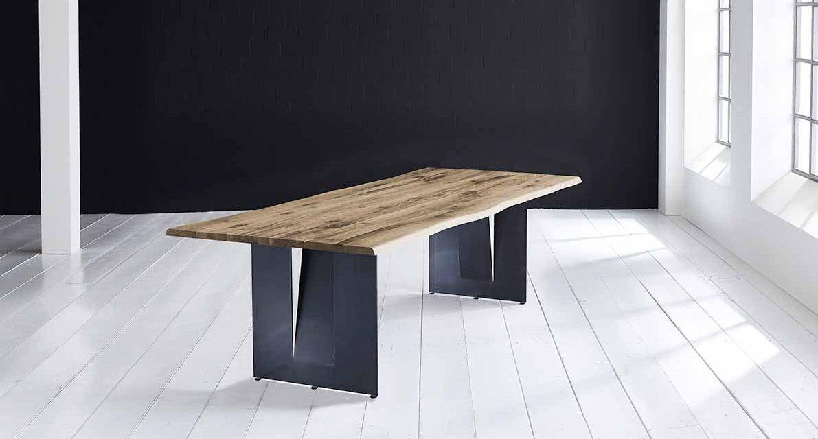 Concept 4 You Plankebord – Barkkant Eg med Steven ben, m. udtræk 3 cm 260 x 100 cm 04 = desert