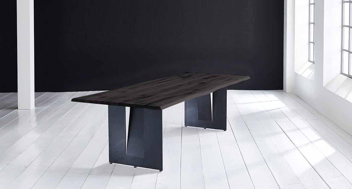 Concept 4 You Plankebord – Barkkant Eg med Steven ben, m. udtræk 3 cm 180 x 100 cm 07 = mocca black