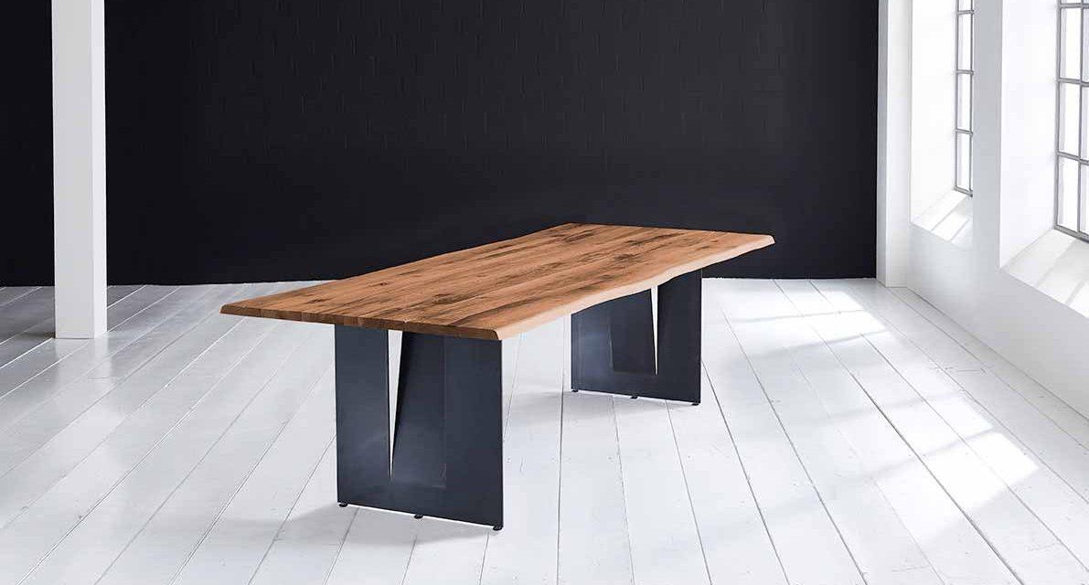 Concept 4 You Plankebord – Barkkant Eg med Steven ben, m. udtræk 3 cm 260 x 100 cm 06 = old bassano