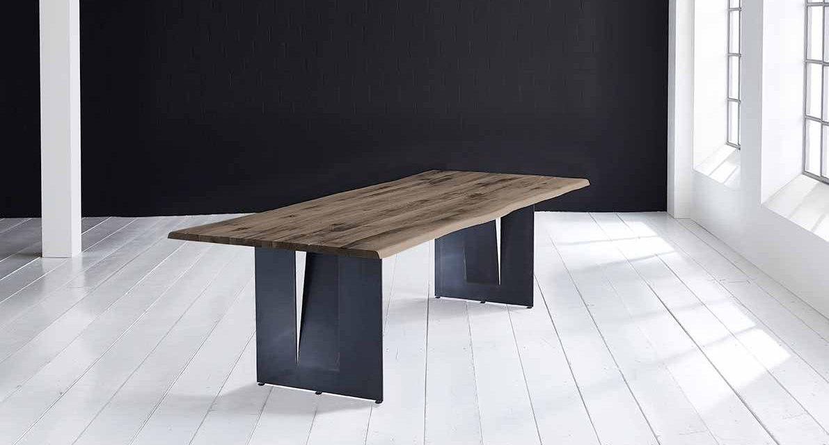 Concept 4 You Plankebord – Barkkant Eg med Steven ben, m. udtræk 3 cm 200 x 100 cm 02 = smoked