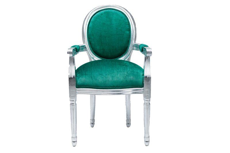 Louis stol med armlæn – Turkis