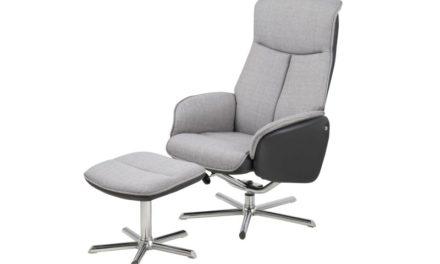 Annora recliner hvilestol med fodskammel – gråt læder