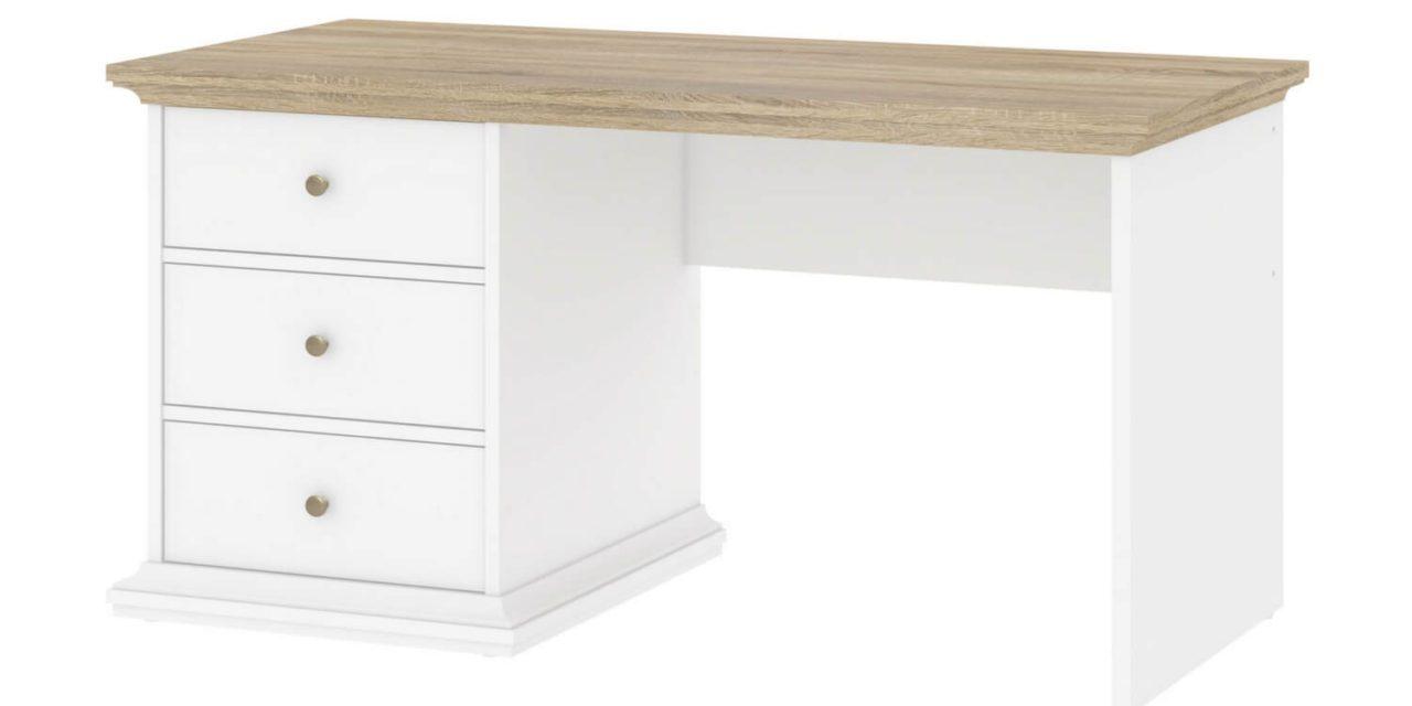 Paris skrivebord med skuffer, hvid/eg
