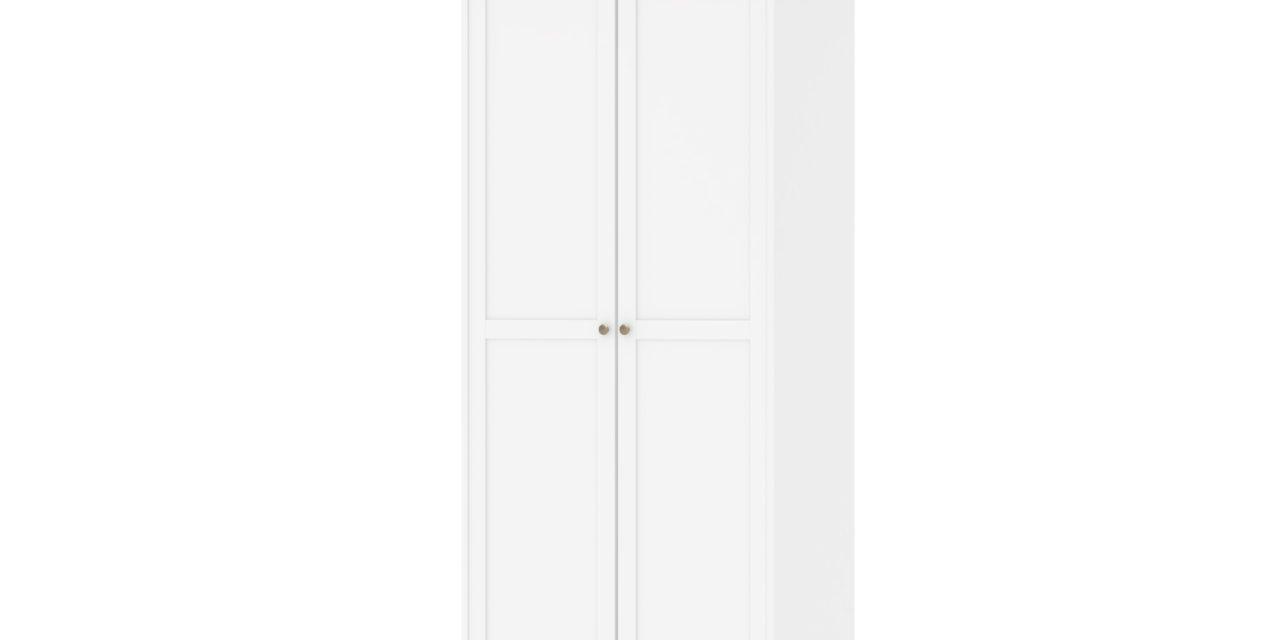 Paris garderobeskab 2 låger + bøjlestang – hvid/eg