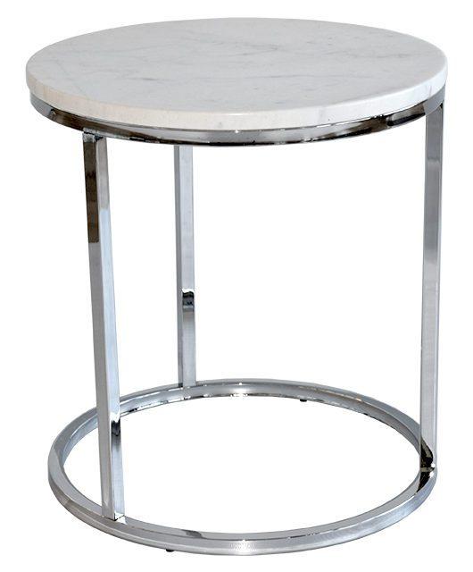 Accent marmor Sofabord, Ø50, krom
