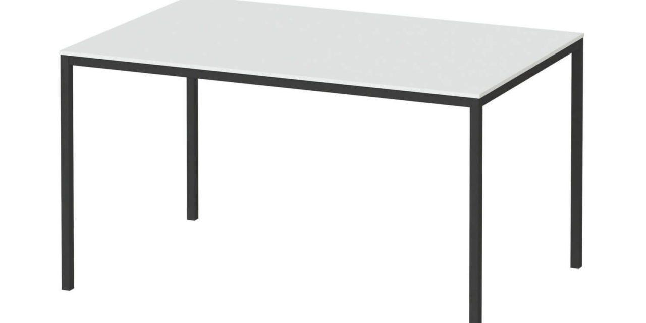Family spisebord i hvid/sort træ – 140×90