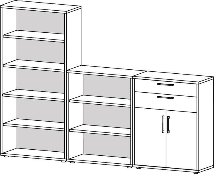 Prima reolsystem m. åbne hylder, 2 skuffer, 2 låger – Hvid