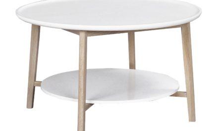 Thea sofabord – hvid/hvidpigmenteret m. hylde, rund (Ø90)