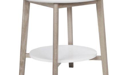 Thea sidebord – hvid/hvidpigmenteret m. hylde, rund (Ø55)