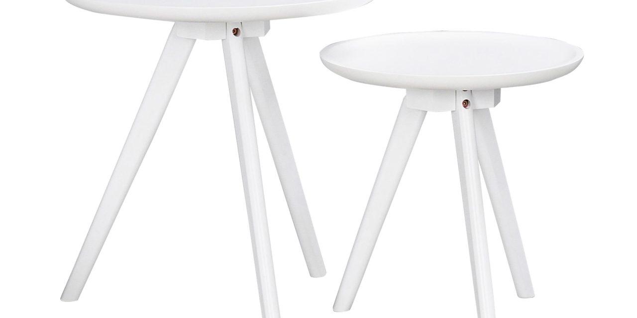 Thea sidebord – hvid, rund (sæt á 2 stk)