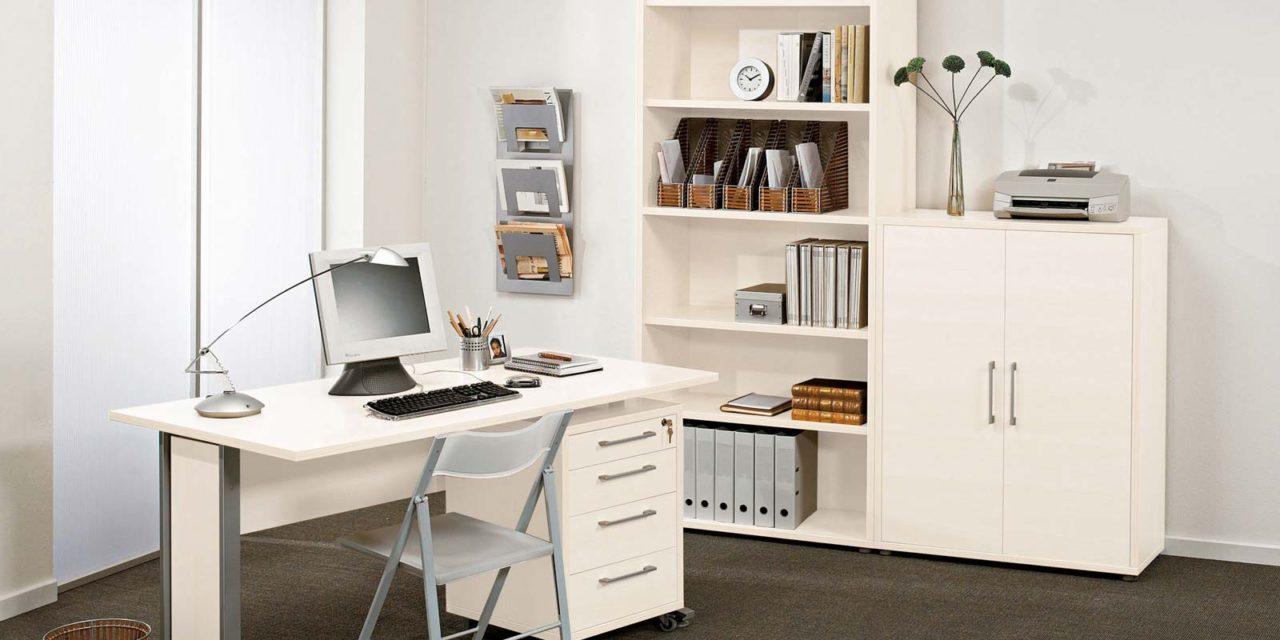 Prima skrivebord – Hvid/Sølvgrå stål