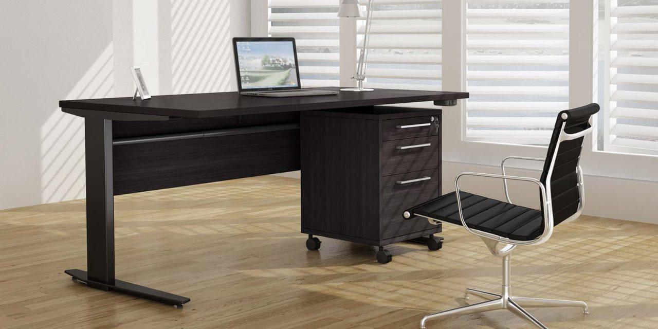 Prima skrivebord – Sort ask/Sølvgrå stål