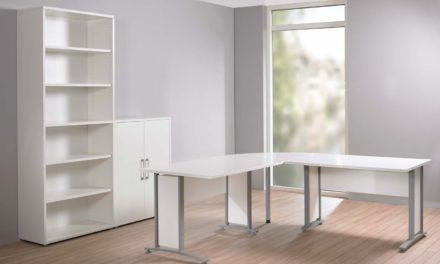 Prima stort skrivebord – Hvid/Sølvgrå stål