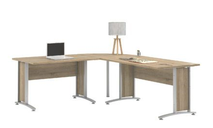 Prima stort skrivebord – Eg/Sølvgrå stål