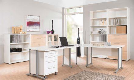 Prima stort skrivebord med skuffer, Hvid