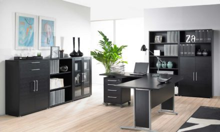 Prima stort skrivebord med skuffer, Sort ask/Sølv stål