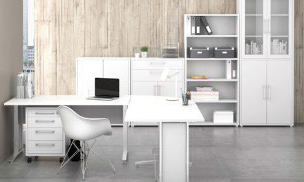 Prima skrivebord med kommode – Hvid