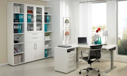 Prima skrivebord med skuffer, Hvid