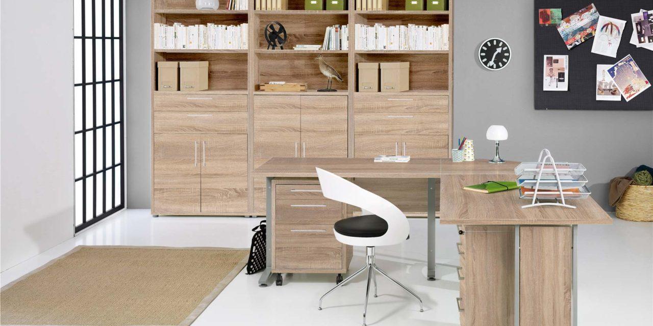 Prima skrivebord med skuffer, Eg