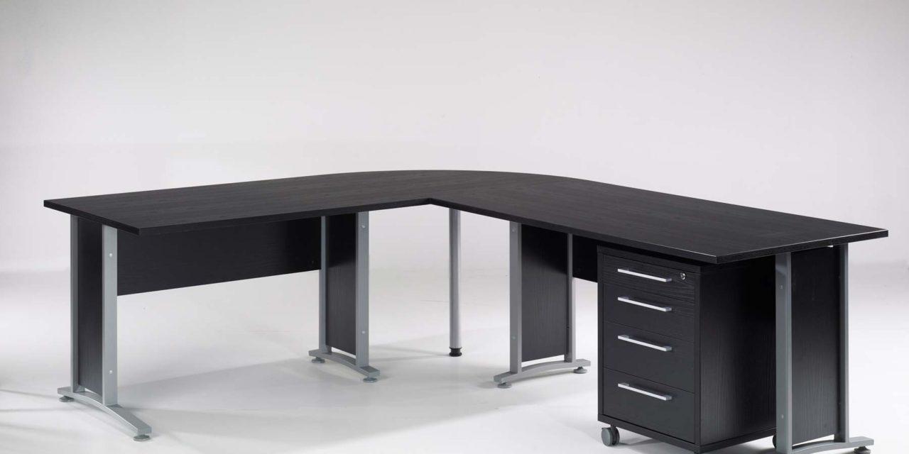 Prima skrivebord med 3 skuffer, Sort ask