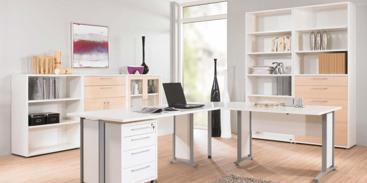 Prima skrivebord med 3 skuffer, Hvid