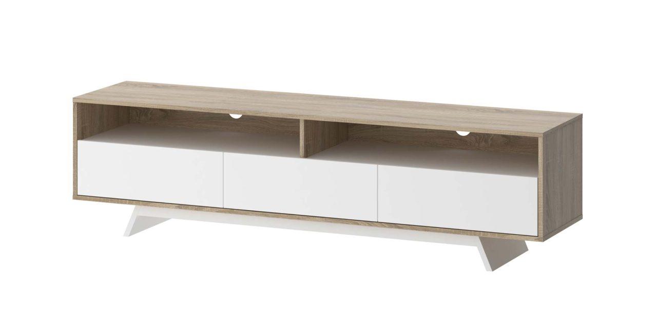 Match lavt TV-bord med opbevaring – Eg/Hvid