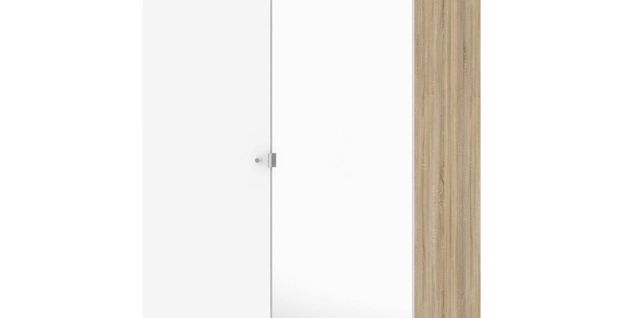 Save garderobeskab (100 cm) i eg struktur/hvid med spejl