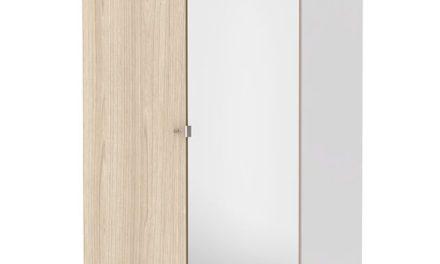 Save Garderobeskab (100 cm) i hvid/eg struktur med spejl
