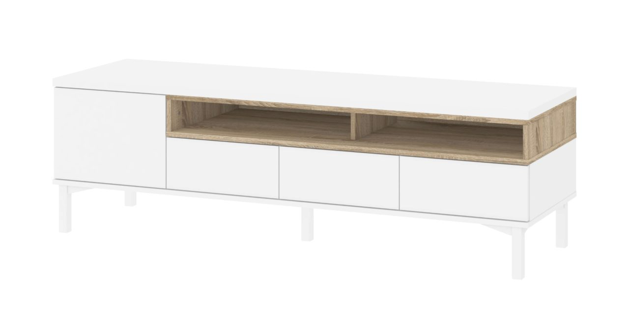 Roomers TV-bord – Hvid/Eg med opbevaring