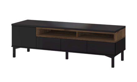 Roomers TV-bord – Sort/Valnød med opbevaring