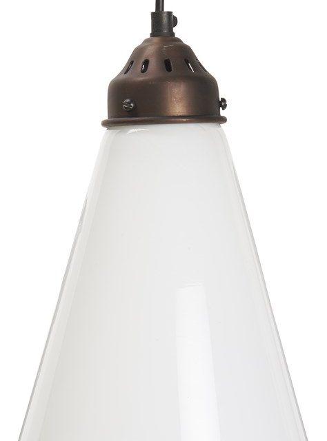 IB LAURSEN Hængelampe opal glas sort plastik ledning