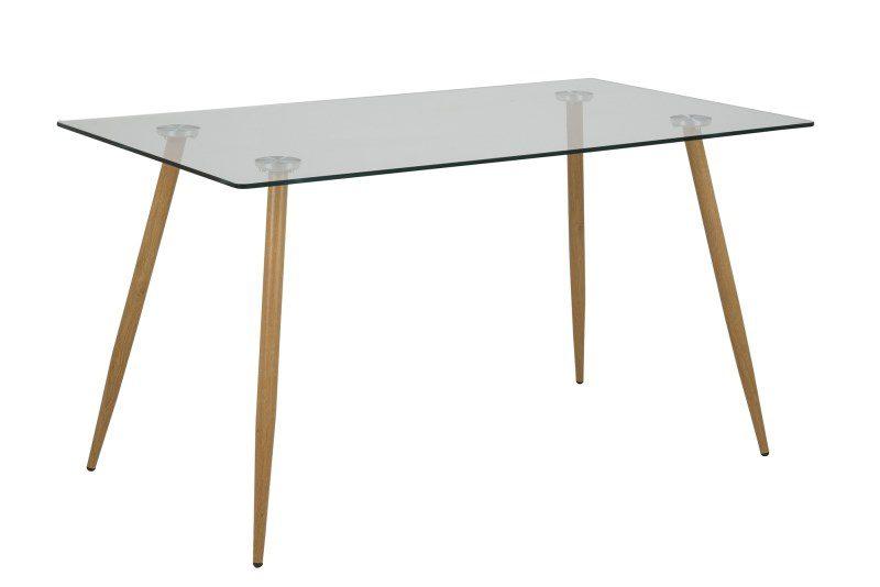 Wilma spisebord m. glasplade og ben med egelook