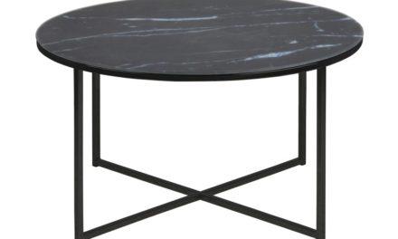Alisma rundt sofabord, Glasplade med marmor print