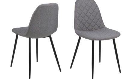 Wilma spisebordsstol – lysegrå med sort stel