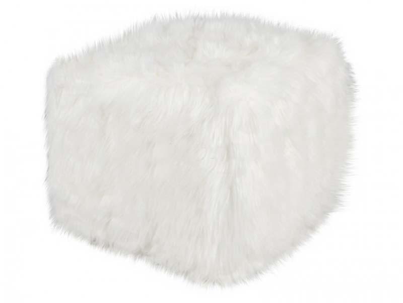 Square deco skin puf, hvid
