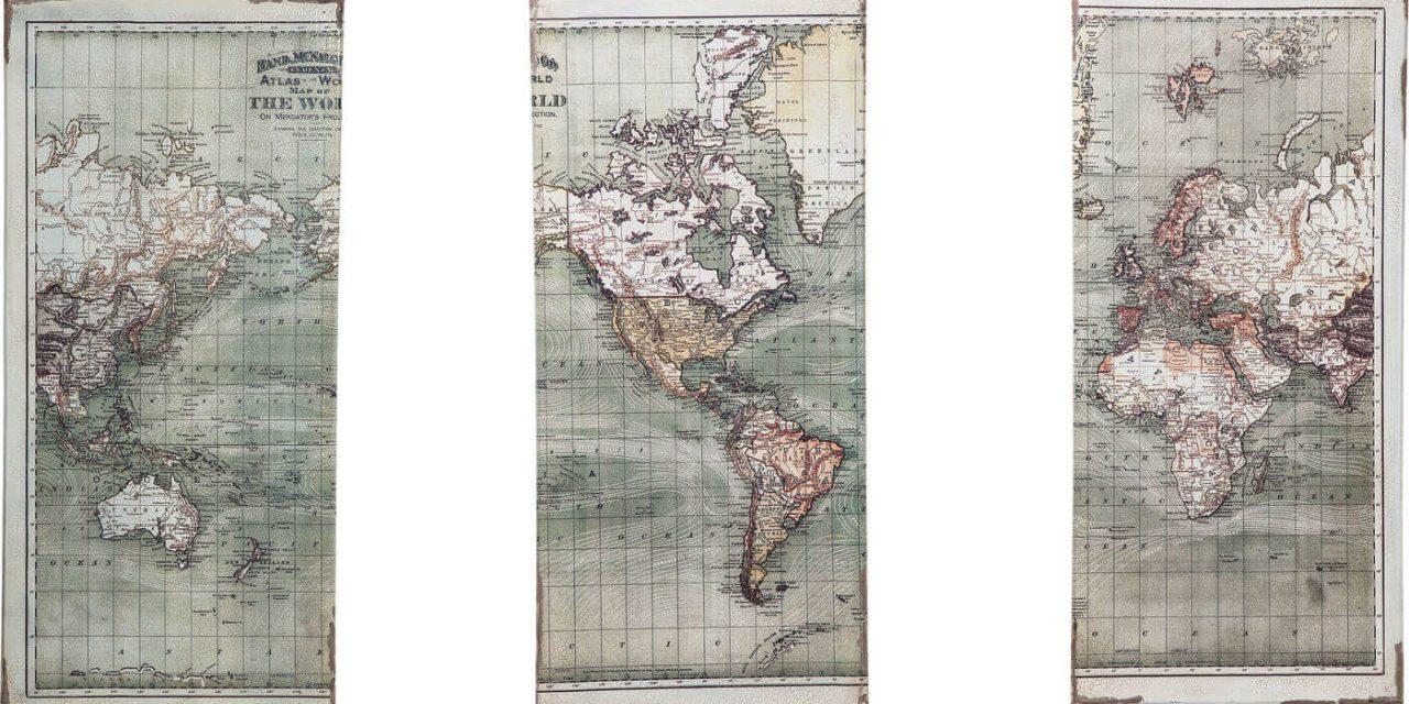 KARE DESIGN Plakat, Triptychon Map 120x118cm