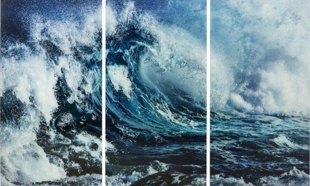 Glas Triptychon Wave Plakat fra Kare Design til boligen