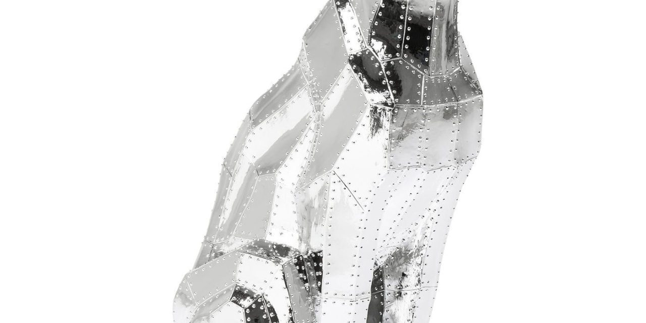 KARE DESIGN Skulptur, Sitting Cat Rivet Chrome