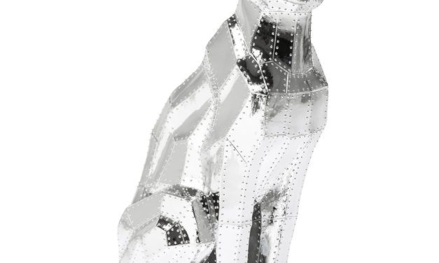 KARE DESIGN Skulptur, Sitting Cat Rivet Chrome
