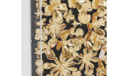 KARE DESIGN Vægdeko, m. Ramme Gold Flower 120x120cm