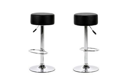 Dumpling barstol – Sort læder PU, metalstel