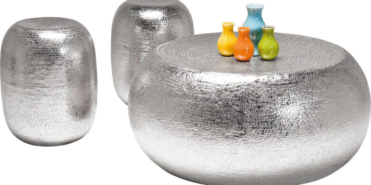 KARE DESIGN Sofabord, + skamler Antico Silver
