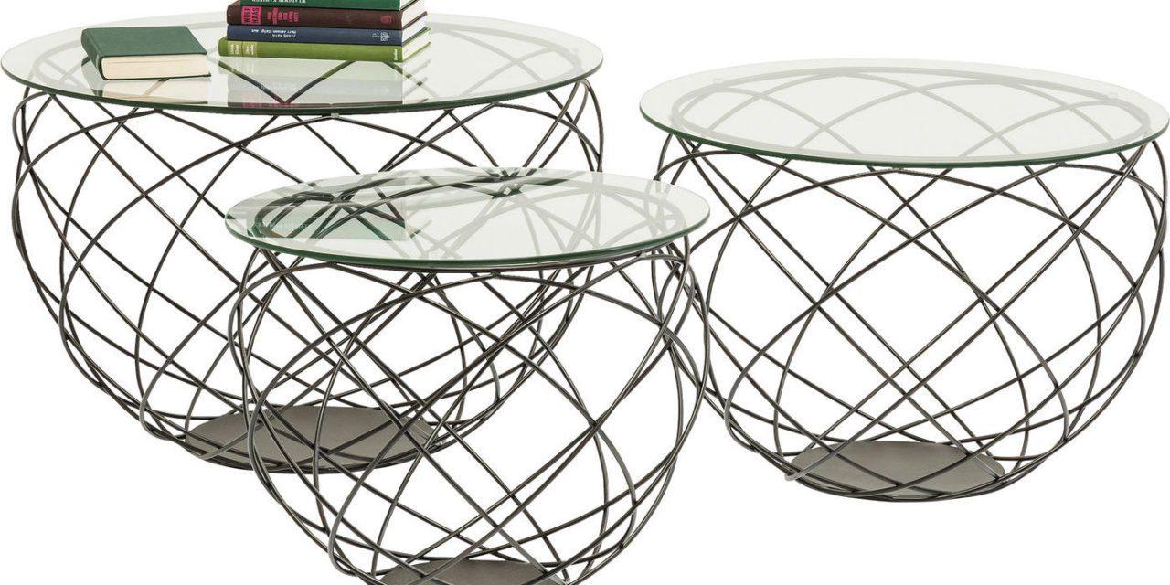 KARE DESIGN Sofabord, Wire Grid Black 3-sæts