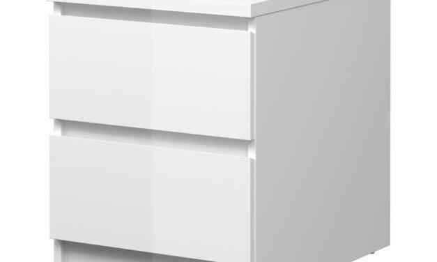 Mary Natbord m. 2 skuffer – hvid højglans