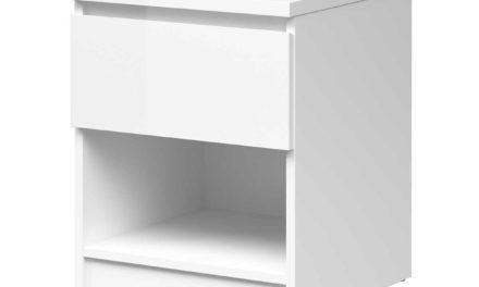 Mary Natbord m. 1 rum og 1 skuffe – hvid højglans