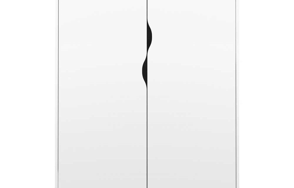 Delta Garderobeskab 2 låger + 2 skuffer, hvid eg struktur