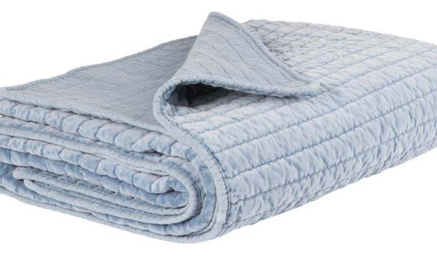 IB LAURSEN Quilt sengetæppe – Blå velour