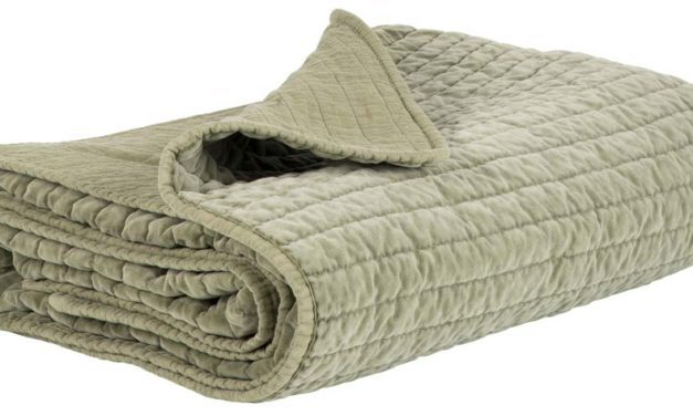 IB LAURSEN Quilt sengetæppe – Olivenfarvet velour